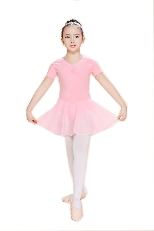 ARSHINER Vestido Niña Ballet Danza Manga Corta de Verano Maillot de ...
