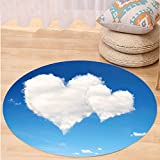 VROSELV Custom carpetValentines Day Decor Love is in the Air Fluffy Cloud in a Clear Bright Sky Romantic Art for Bedroom Living Room Dorm Blue and White Round 72 inches