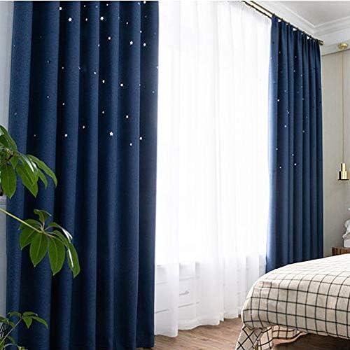 Vorhang Schattierung Sonnenschutz Wohnzimmer Studie Prinzessin Mädchen Schlafzimmer Persönlichkeit Kreative Reine Farbdekoration Dunkelblau Hohlen Stern Modern