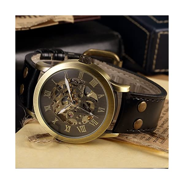 AMPM24 Men's Steampunk Bronze Skeleton Self-Winding Auto Mechanical Leather Wrist Wacth 7