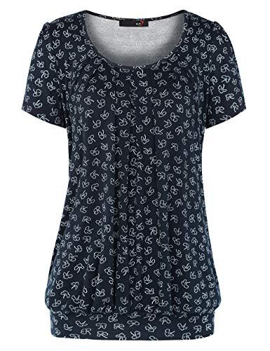 DJT Women's Scoop Neck Short Sleeve Front Pleated Tunic Medium Navy Flower #2