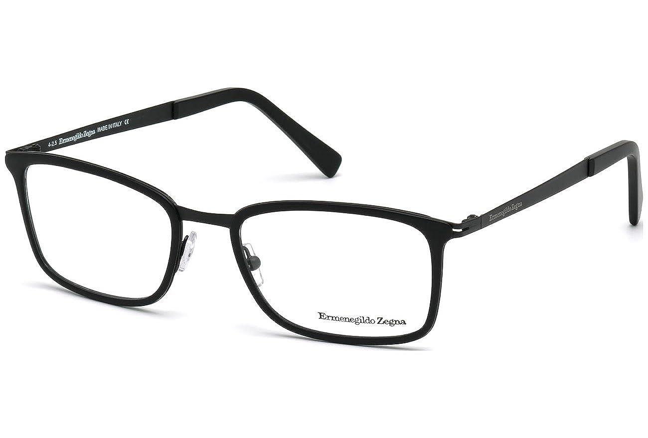 2f46e96f6bb1 Amazon.com: ERMENEGILDO ZEGNA Eyeglasses EZ5047 002 Matte Black 55MM:  Clothing
