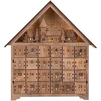Amazon Com Kurt Adler Led Wooden Advent Calendar
