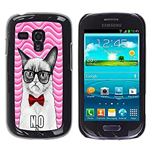 - Chevron Grumpy Cat - - Hard Plastic Protective Aluminum Back Case Skin Cover FOR Samsung Galaxy S3 Mini I8190 Queen Pattern