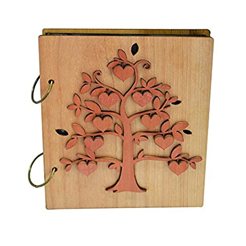 Giftgarden 4x6 Heart Fruit of Family Tree Photo Album 120 Pockets Photo Book for 4 by 6 inch - Wood Photo Album Book