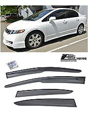 Extreme Online Store for 2006-2011 Honda Civic 4Dr Sedan   EOS Visors JDM Mugen ll Tape On Style Side Vent Window Deflectors Rain Guard FD1 FD2 Si