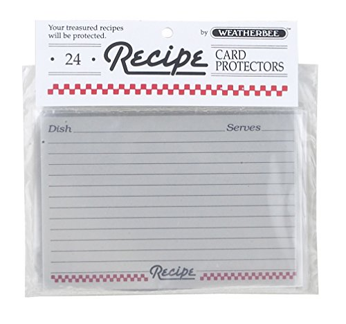 Weatherbee Clear Recipe Card Protectors, 4 by 6-Inches, Set of 24