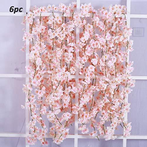 Homcomoda 6 Pack Artificial Flowers Silk Cherry Blossom Hanging Vine Garland for Wedding Home Garden Party Decor (Pink) ()