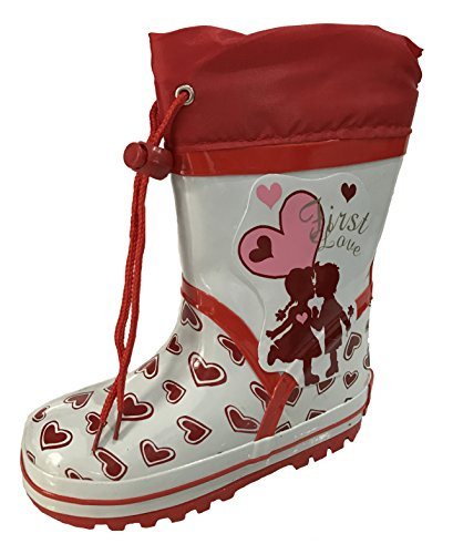 INT Toddler Girls Pink and White First Love Design w Hearts Rain Snow Boots w/ Lining and Tie (8) - White Boots With Heart