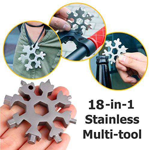 LucaSng 2 Pack 18-In-1 Snowflake Multi Tool Stainless Steel Portable Multi-Function Tool Outdoor Travel Camping Daily Tool (Silver)