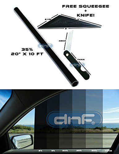 DNF 1 PLY Black 35% 20″ X 10 Feet Window Tint Dyed Film with Free DNF Tri-Edge Squeegee and Knife