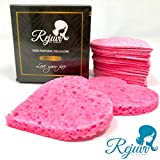 Facial Cleanser Sponge - Rejuvv Facial Sponges Compressed Natural Cellulose Sponge for Face Cleansing Exfoliating and makeup removal, (50 count)