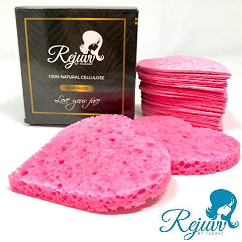Rejuvv Facial Sponges Compressed Natural Cellulose Sponge for Face Cleansing Exfoliating and makeup removal, 50 count