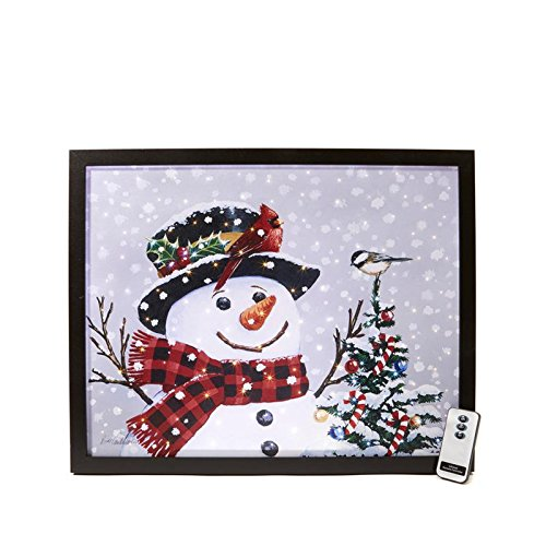 Winter Lane Fiber-Optic Canvas Art with Remote - Snowman with Birds