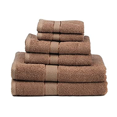 Premium Bamboo Cotton 6 Piece Towel Set (2 Bath Towels, 2 Hand Towels and 2 Washcloths) - Natural, Ultra Absorbent and Eco-Friendly (Mocha)