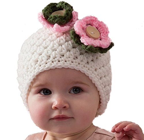b16ff3d827f Love Crochet Art Floral Kiss - Baby Beanie Cap For Infant New Born