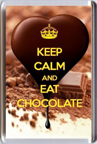 (KEEP CALM and EAT CHOCOLATE Fridge Magnet printed on an image of heart shaped rich dark chocolate being poured on even more chocolate! From our Keep Calm and Carry On series - an original Gift Idea for a chocoholic!)