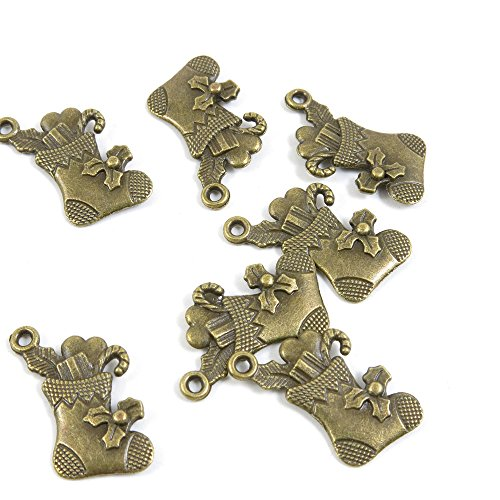 30 Pieces Bronze Pendentif Jewelry Making Supply Charms Findings Bronze Tone 99738 Christmas Socks