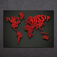 Karen Max HD stampato 1pezzi mappa del mondo Red Contour tela pittura telaio con mappa del mondo vintage tela dipinto astratto