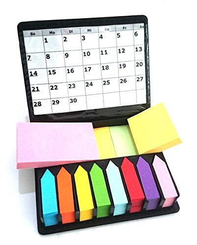 Megabox Haftnotizen Notizzettel Haftmarker selbstklebend 2000 Blatt in 11 Farben, 3 Formaten, im Kunstleder-Klappbox mit Sichthülle
