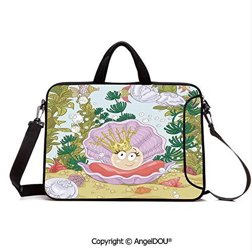AngelDOU Customized Neoprene Printed Laptop Bag Notebook Handbag Cute Princess Pearl in Clam with Crown Tiara Reef Cartoon Print Baby Girl Nurser Compatible with mac air mi pro/Lenovo/asus/acer M