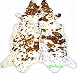 ecowhides White Tricolor Brazilian Cowhide Area Rug, Cowskin Leather Hide for Home Living Room (Large) 6 x 6 ft