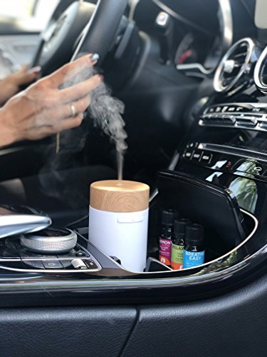 GuruNanda Portable White Essential Oil Diffuser for Car, Home, Office ~ Aromatherapy Ultrasonic Mist Essential Oils Diffusers ~ Travel-Size, Humidifiers No water needed, Fits in Cup Holder! by GuruNanda (Image #1)