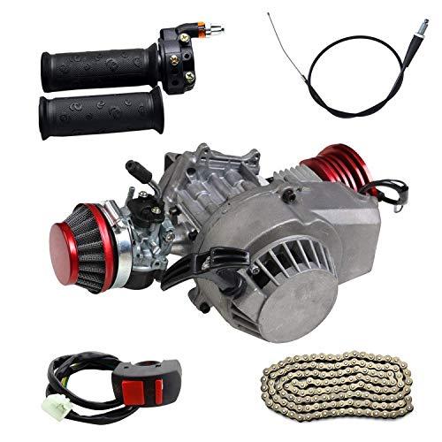 WPHMOTO 47cc 49cc 2-Stroke Engine Motor & Throttle grips & 25H Chain & Throttle Cable & Switch Kit for Dirt Bikes ATV Quad