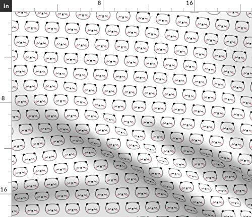 Spoonflower Sleepy Pandas Fabric - Pandas Black Panda Black and White  Cheeky Sleepy Eyes Eyelashes by Misstiina Printed on Organic Cotton Knit  Ultra