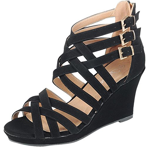 Strappy Zipper (Forever Link Strappy Interwoven Buckle Accent Wedge Sandal (7 B(M) US, Black Nubuck))