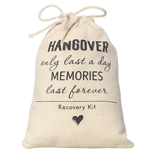 Ling's moment 4×6 inch 10pcs Bachelorette Party Hangover Kit Favor Bag Wedding Party Cotton Muslin Drawstring Favor Bag