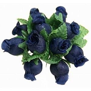 144 Poly Rose Silk Favor Flower Pick Wedding Shower - Navy Blue 73