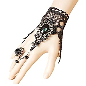 LEFINIS Handmade Gothic Lolita Retro Lace Slave Bracelet Wristband Ring, Necklace Set