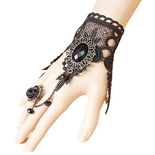 Lefinis Handmade Gothic Lolita Retro Lace Slave Bracelet Wristband Black Flower Ring