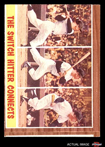 1962 Topps # 318 The Switch Hitter Connects Mickey Mantle New York Yankees (Baseball Card) Dean's Cards 1.5 - FAIR Yankees