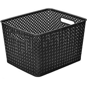 "Resin Wicker Storage Tote, Large 13.75"" x 11.50"" x 8.75"", Basket Weave (black) (1)"