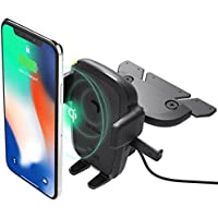 iOttie Easy One Touch Qi Wireless Fast Charge CD Slot Car Mount for Samsung Galaxy S9 Plus S8 S7 Edge Note 8 & Standard Charge for iPhone X 8 Plus & Qi Enabled Devices Includes Dual Car Charger