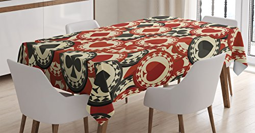 Ambesonne Casino Decorations Tablecloth, Poker Chips Metropolitan Dollar Currency Symbols Wealth Winning Enjoy, Dining Room Kitchen Rectangular Table Cover, 52 X 70 inches