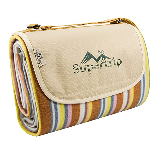 Supertrip Extra Large Portable Picnic Blanket Mat Hand Tote for Outdoor Beach Camping with Waterproof Backing Color Orange Stripe