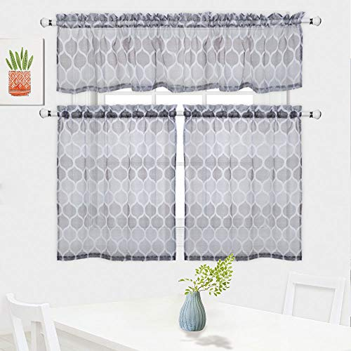 Haperlare 3 Pieces Moroccan Pattern Sheer Kitchen Tier Curtains and Valance Set for Cafe Bathroom, Trellis Design Living Room Curtain Sets, 36-Inch, Grey