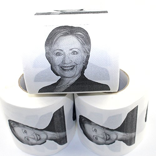 Haawooky 3 Rolls Hillary Clinton Toilet Paper, Novelty Political Gag Gift