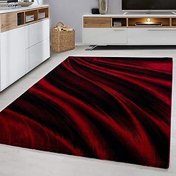 Amazon De Designer Teppich Rot Modern Kurzflor Muster Pflegeleicht