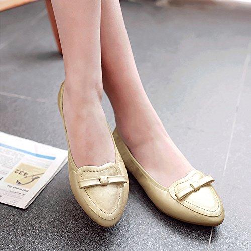 Bowknot Morbide Scarpe Comfort Gold Da Slip Ballet Punta On Donna A Ochenta Pieghevoli Morbida 1aSnBq18