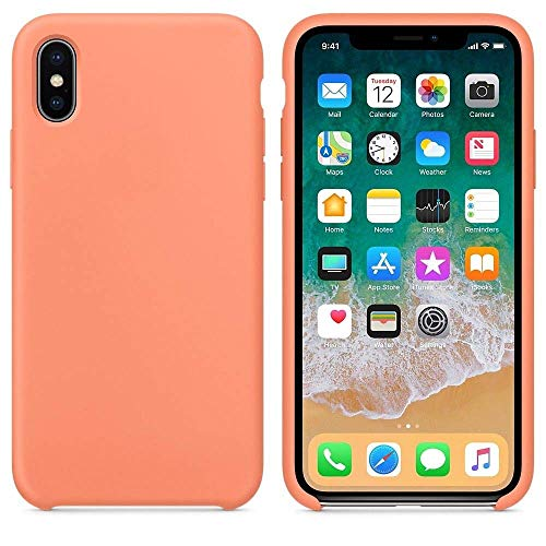- Silicone Case for iPhone X New Model Fashioned Design and Simple (Peach)