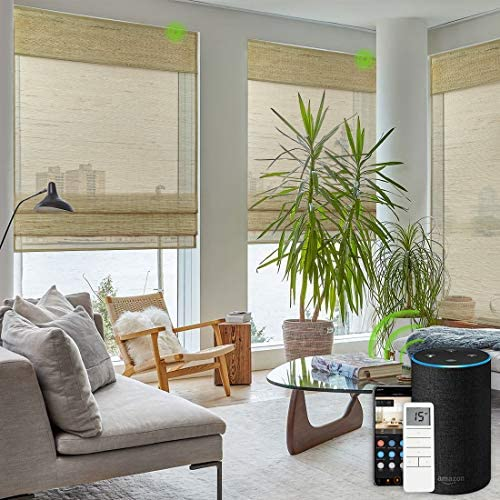 Yoolax Motorized Roman Blinds Remote Control Natural Woven Cotton Linen Smart Shades Compatible