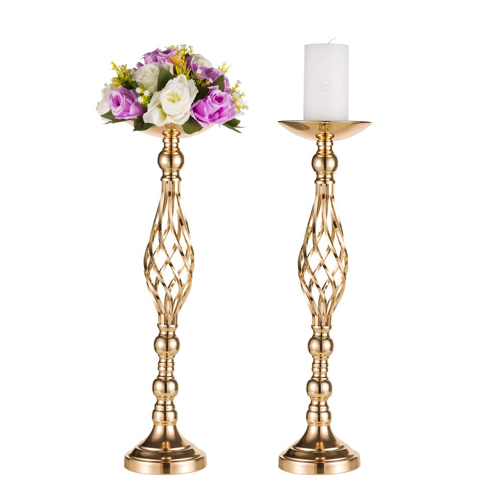 Set of 2 Tall Metal Vase for Wedding Centerpieces Decoration-Artificial Flower Arrangement-Pillar Candle Holder Stand Set for Wedding Party Dinner Event Centerpiece Home Decor(2x23.2'' H, Twist Style)