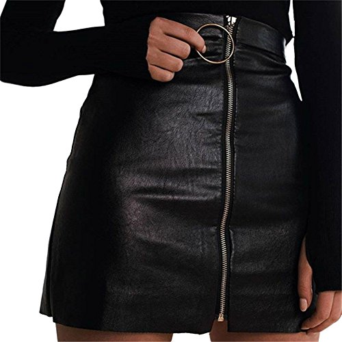 EFINNY Women's Zipper Up Slim Fitted OL Club Wear Bodycon Mini Skirt (Zipper Slim Skirts)