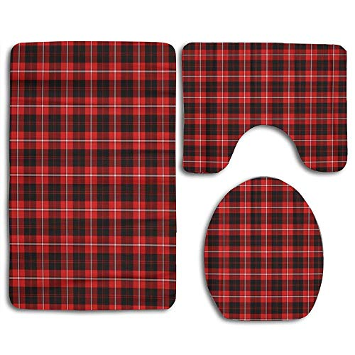 EnmindonglJHO Abaysto Pattern Patterned of The Clan Cunningham Tartan Plaid Bathroom Rug Mats Set 3 Piece Bath Mat Contour Mat and Lid Cover Bathroom Doormats Decor Non Slip