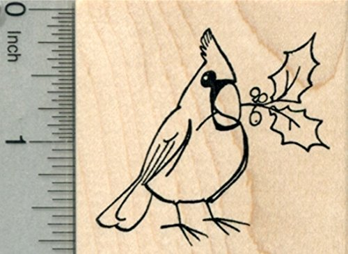 Cardinal Rubber Stamp, Bird with Holly