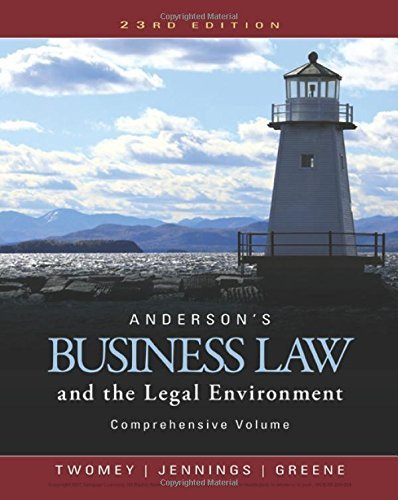 Anderson's Business Law and the Legal Environment, Comprehensive Volume by David P. Twomey (2016-01-01)